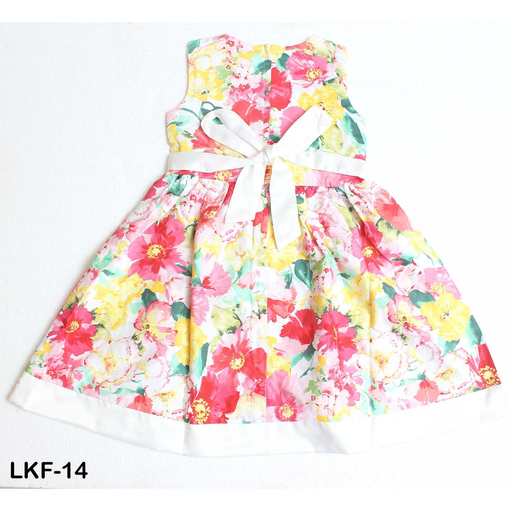 Mall Kids Floral Pleasure Yellow Sleeveless Frock for Baby Girls