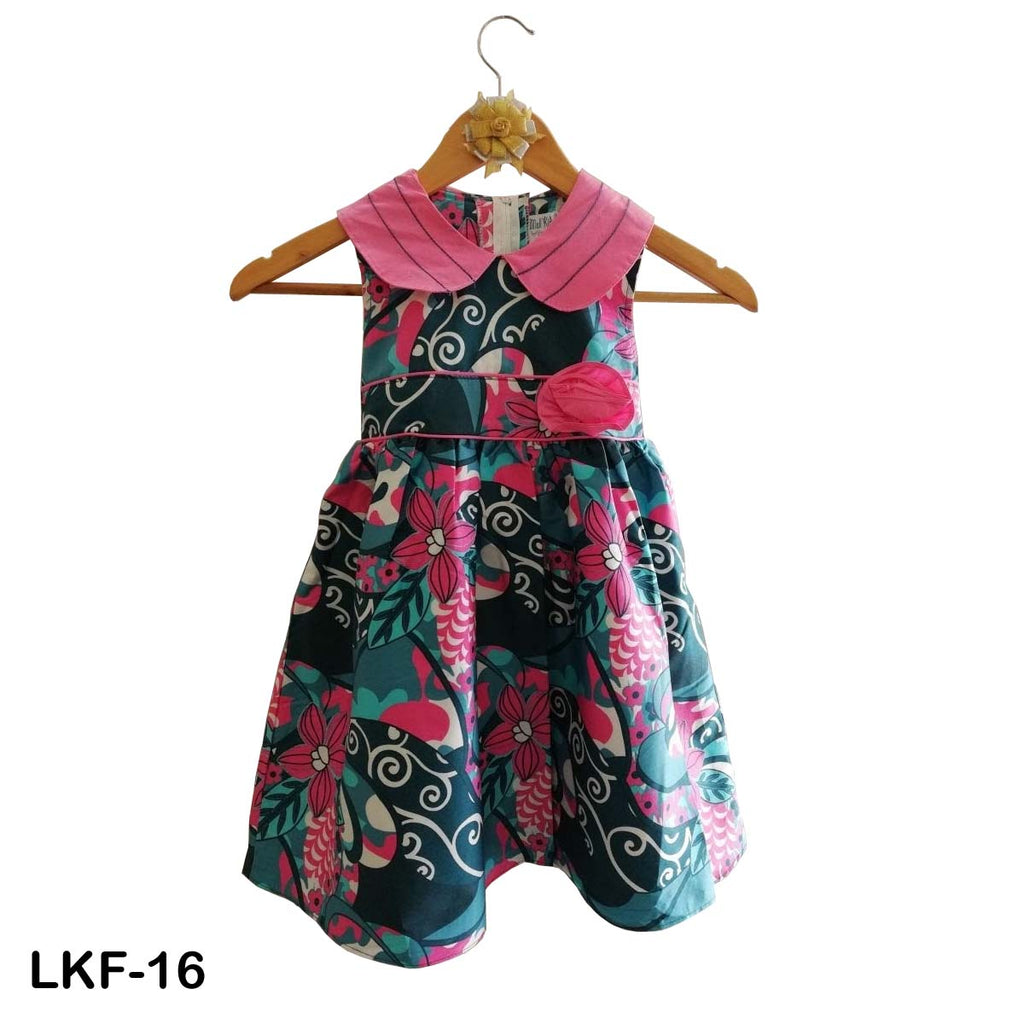Mall Kids Printed Floral Contrasting Pink Peter Pan Collar Frock for Baby Girls