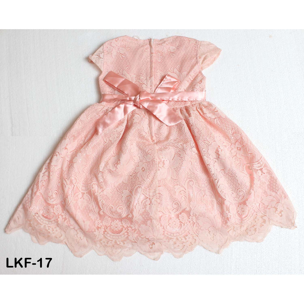 Mall Kids Pastel Peach Mesh Party Dress with Bow Tie for Baby Girls