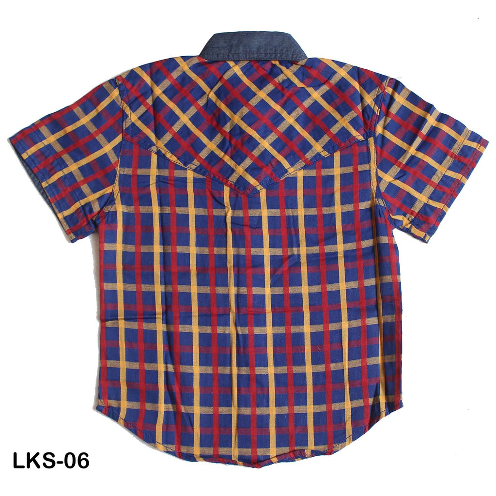 Mall Kids Big Check Patchwork Half Sleeves Shirt for Boys - Limitlesswow