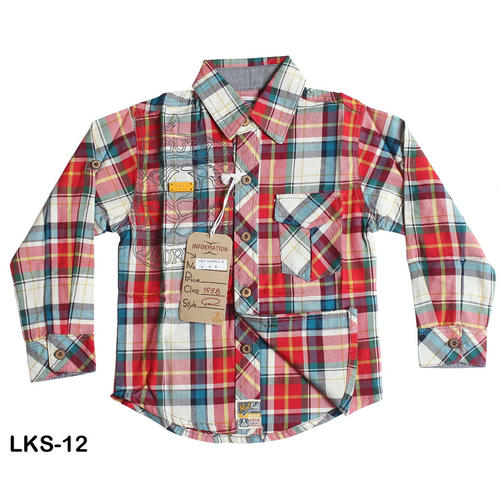 Mall Kids Embroidered Yarn Dyed Check Shirt for Boys - Limitlesswow