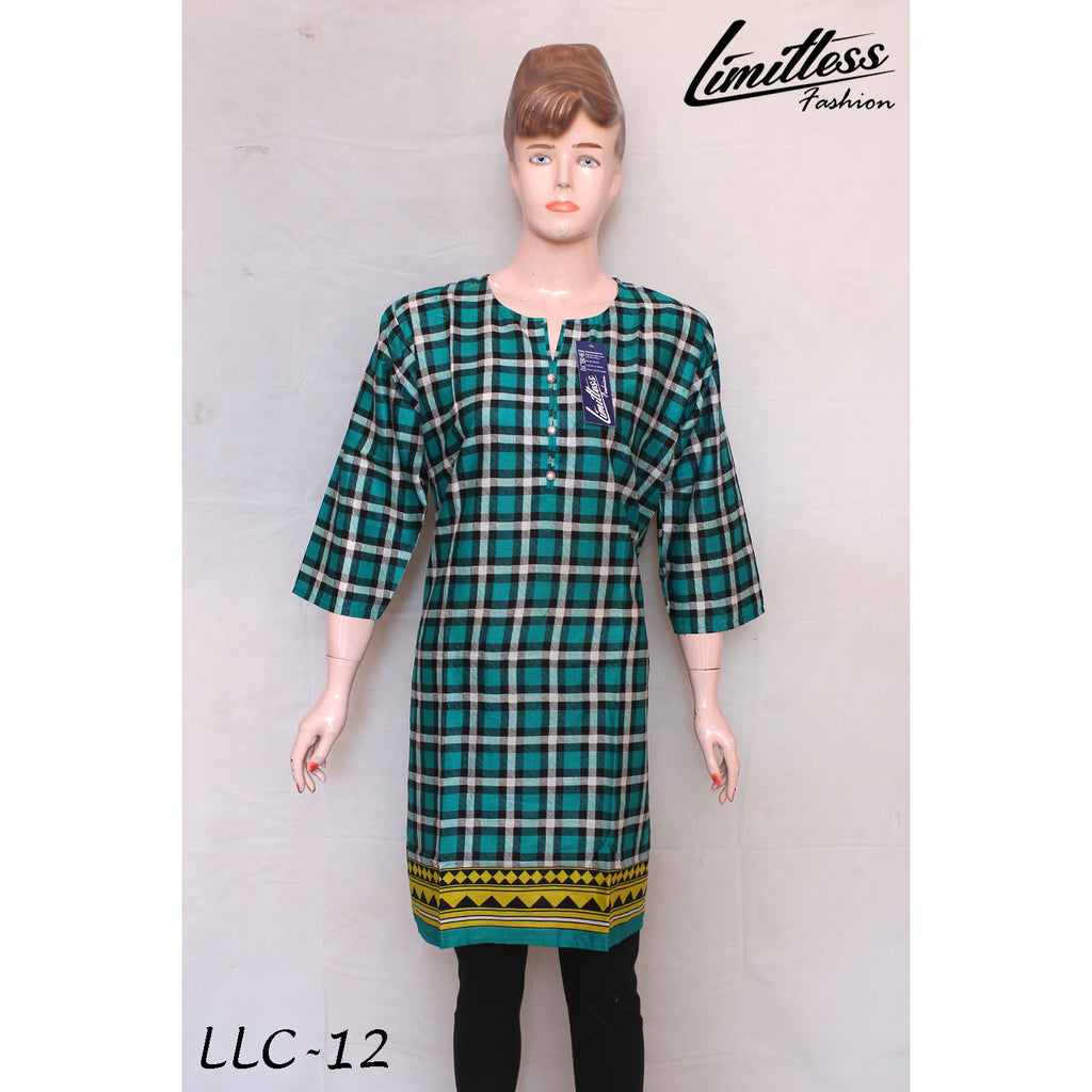New & Latest Printed Cotton Lawn Stitched Kurti for Women in Large - LLC-12