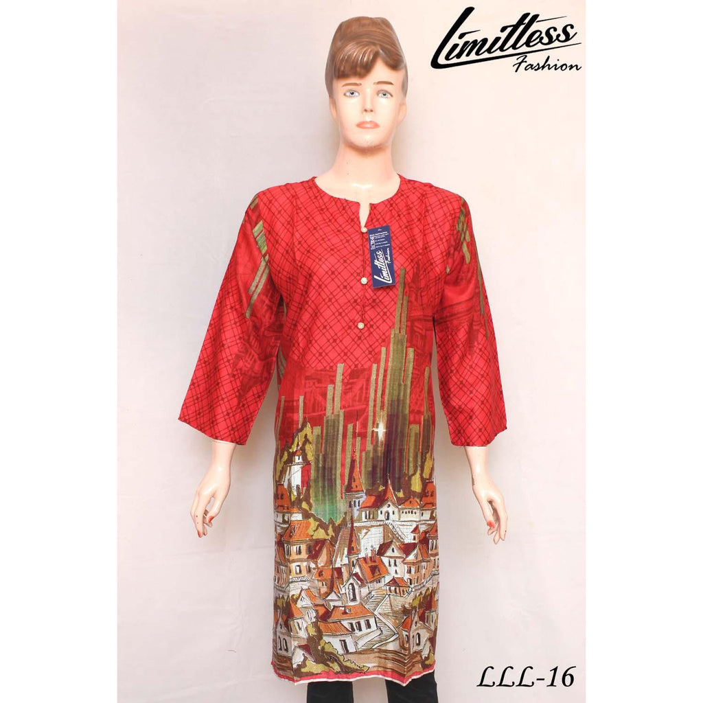 New & Latest Printed Linen Stitched Kurti for Women in Large - LLL-16
