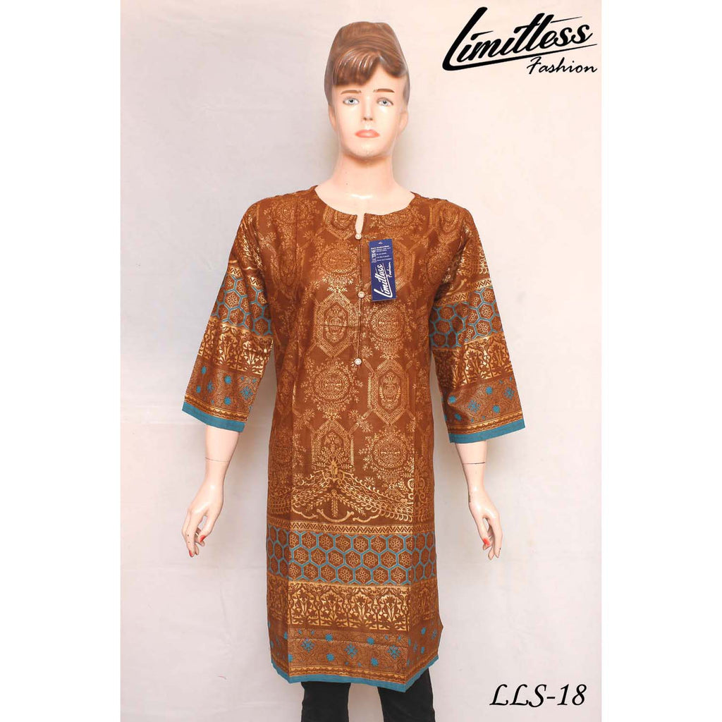 New & Latest Printed Cotton Lawn Stitched Kurti for Women in Large - LLS-18