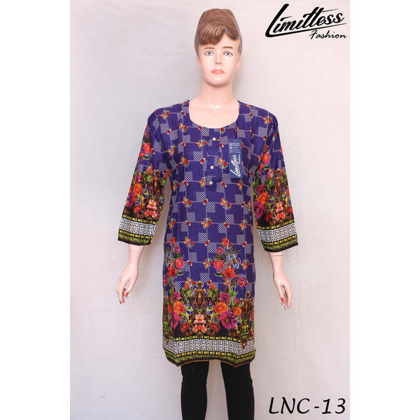 New & Latest Printed Cotton Lawn Stitched Kurti for Women in Medium - LNC-13