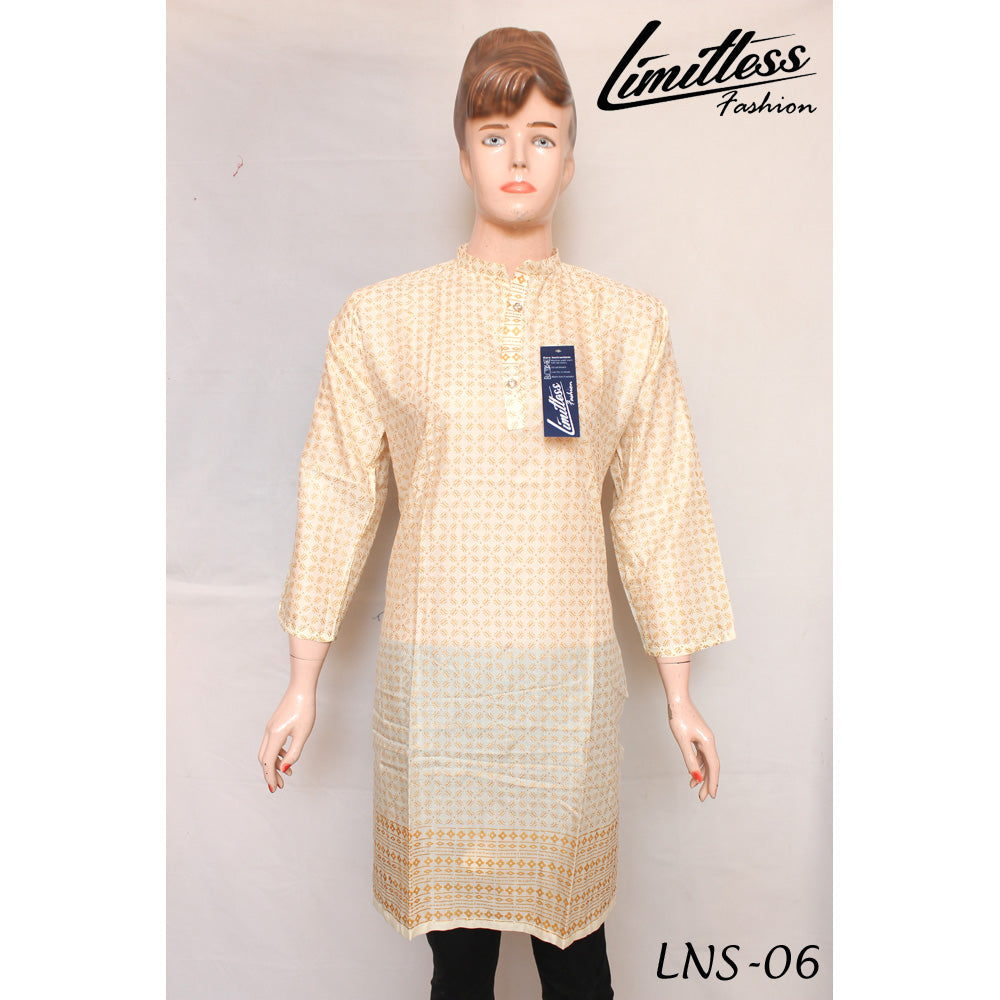 New & Latest Printed Linen Stitched Kurti for Women in Medium - LNS-06