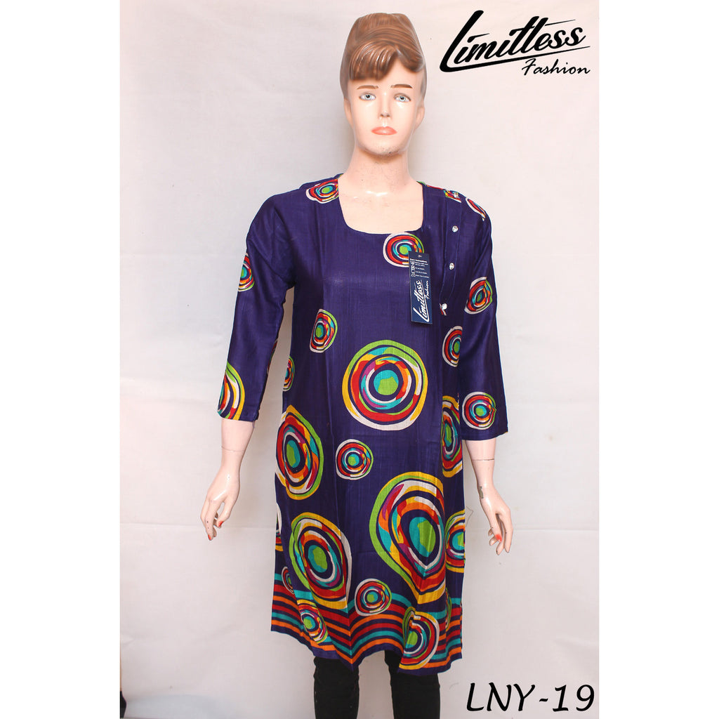 New & Latest Printed Khaddar Stitched Airline Kurti for Women in Medium - LNY-19