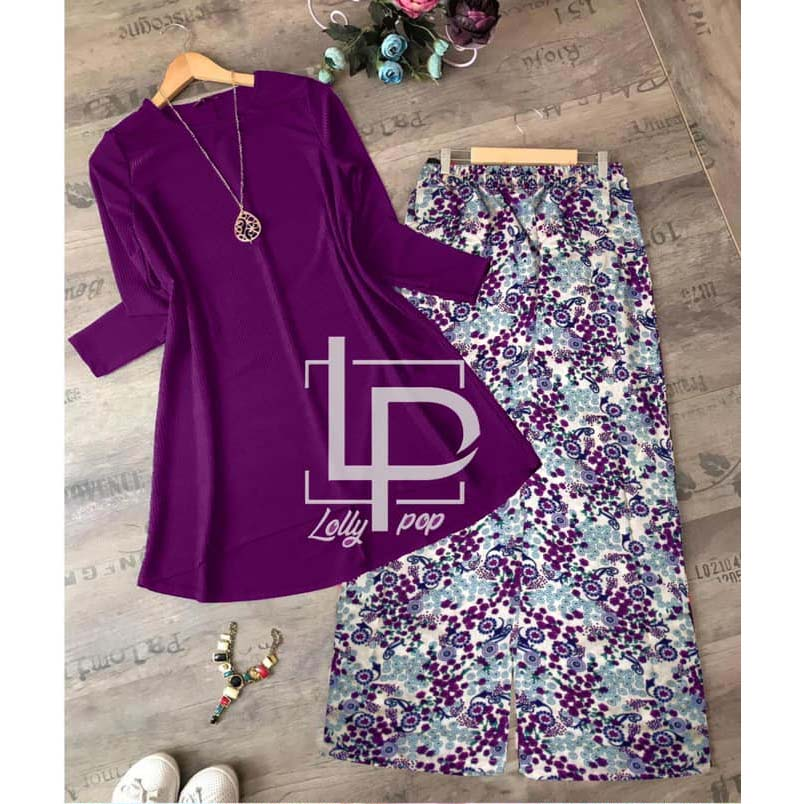 Lollypop 2 in 1 Kurti and Bootcut Trouser Set for Women & Girls - LP-044