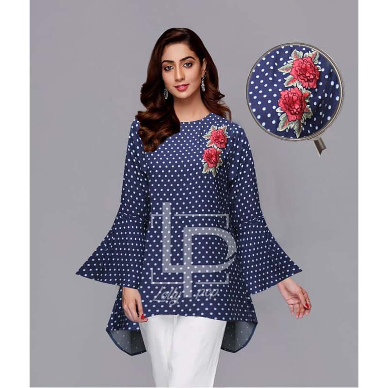 Lollypop Printed + Embroidered Cotton Kurti for Girls & Women - LP-047