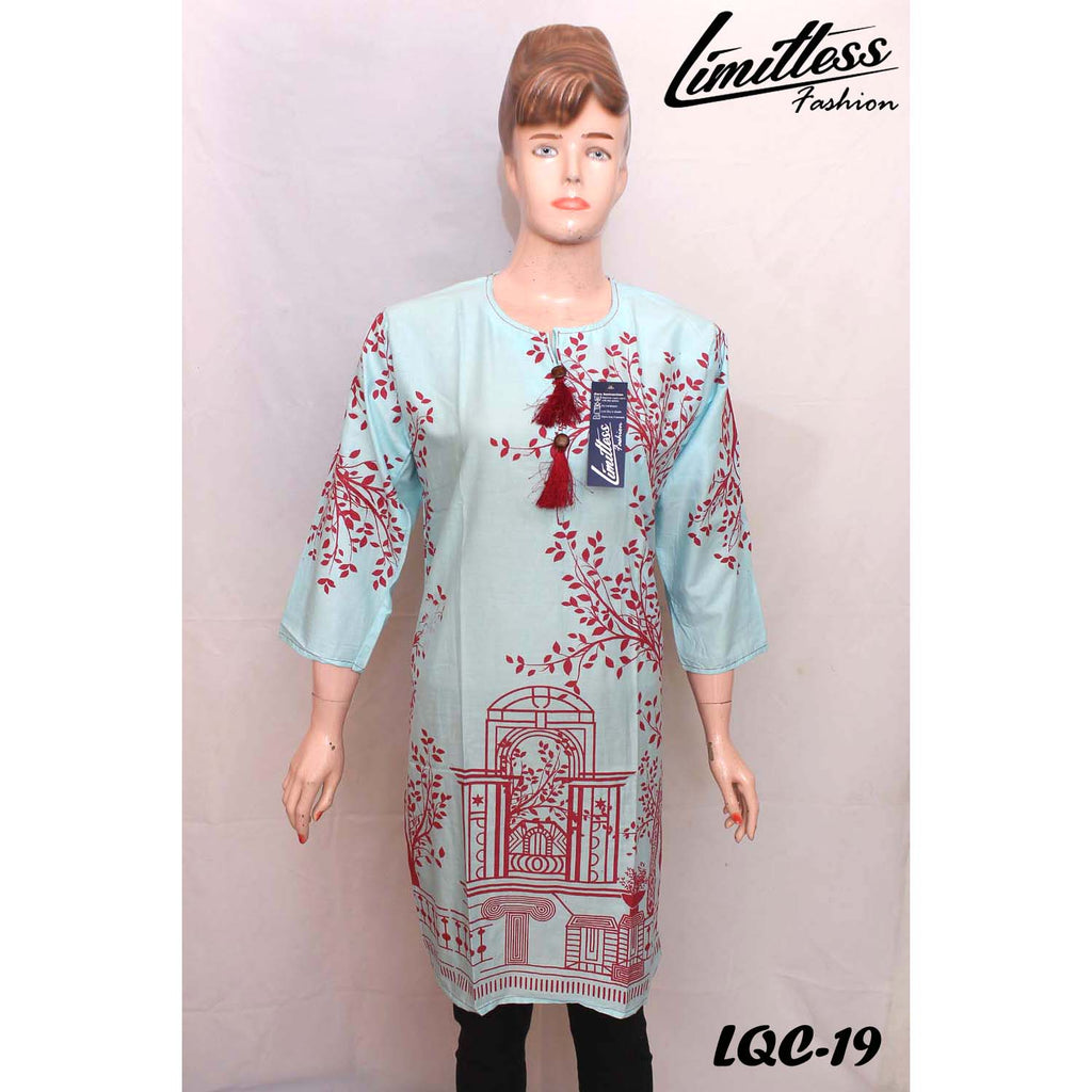 New & Latest Printed Cotton Lawn Stitched Kurti for Women in Medium - LQC-19