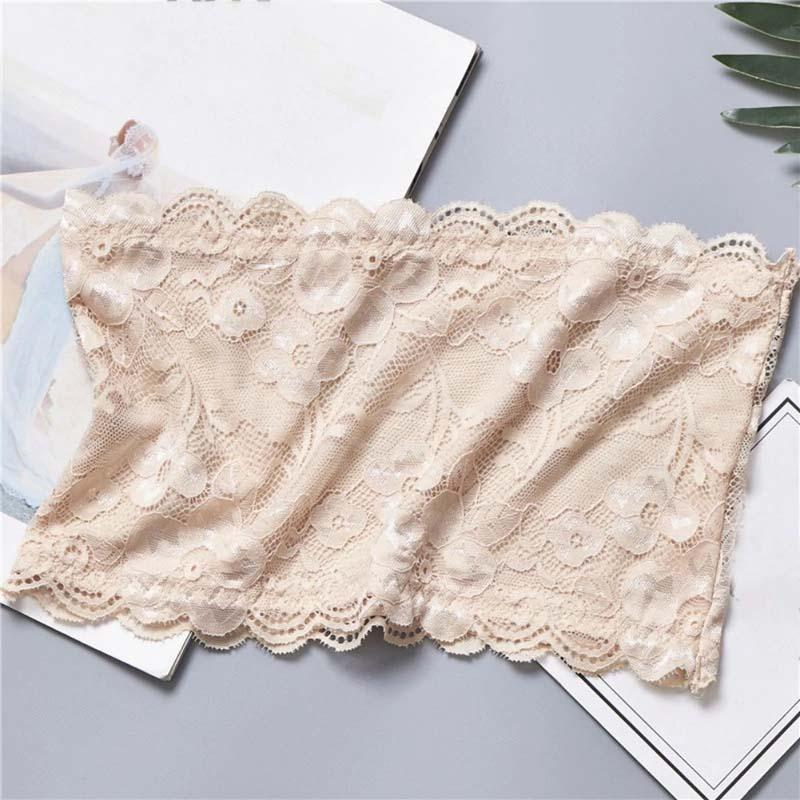 Qiaoliyi Strapless Crop Wrap Lace Bandeau Tube Top Women Bustier Boob Tubes Tops Bralette 5 Solid Colors for Girls & Women - Limitlesswow
