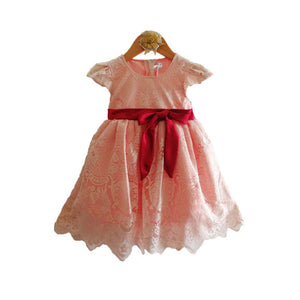 Mall Kids Pastel Peach Mesh Party Dress with Bow Tie for Baby Girl