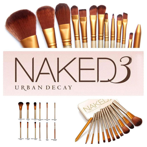 Naked3 Makeup Brush Set - Face Powder Brushes - Eyeshadow Blushes Makeup Brush Kit - 12-Pcs