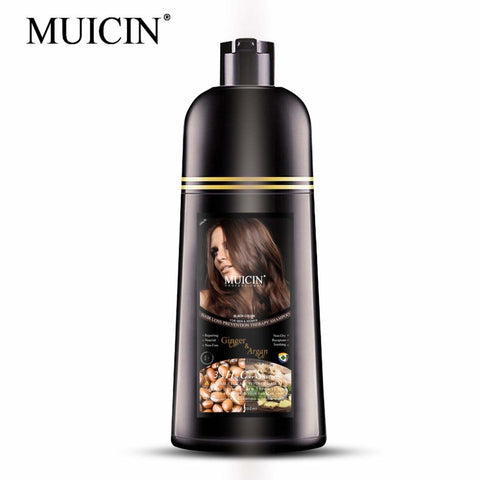 Muicin 3 in 1 Hair Color Shampoo with Ginger Oil & Argan Oil for Men & Women - Black Color - 200ml