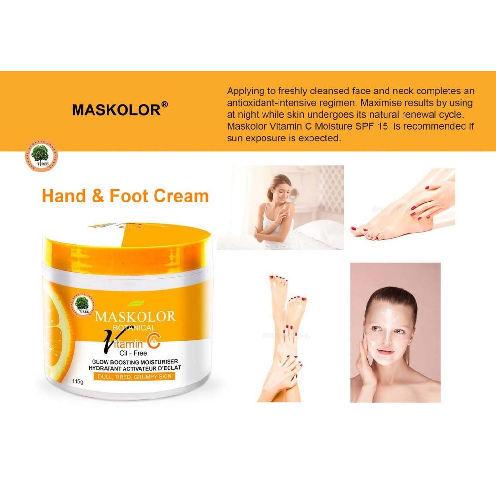Maskolor Botanical Tea Tree Oil Face, Hand & Foot Cream Vitamin C+ Oil Free Glow Boosting Moisturizer - 115gms