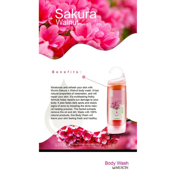 MUICIN - Sakura & Walnut Body Wash Gel