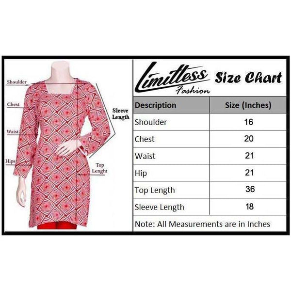 Limitless Fashion Printed Cotton Lawn Stitched Kurti for Girls & Women in Medium - LJC-11