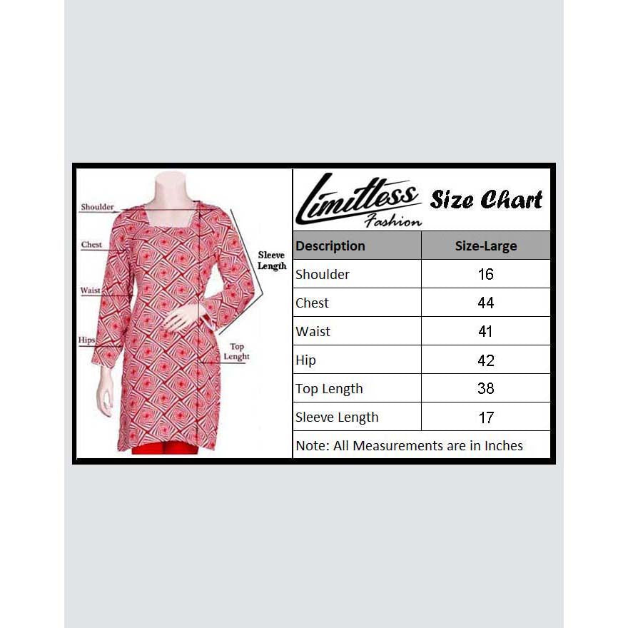 Limitless Fashion Printed Cotton Lawn Stitched Kurti for Girls & Women in Large - LLA-25