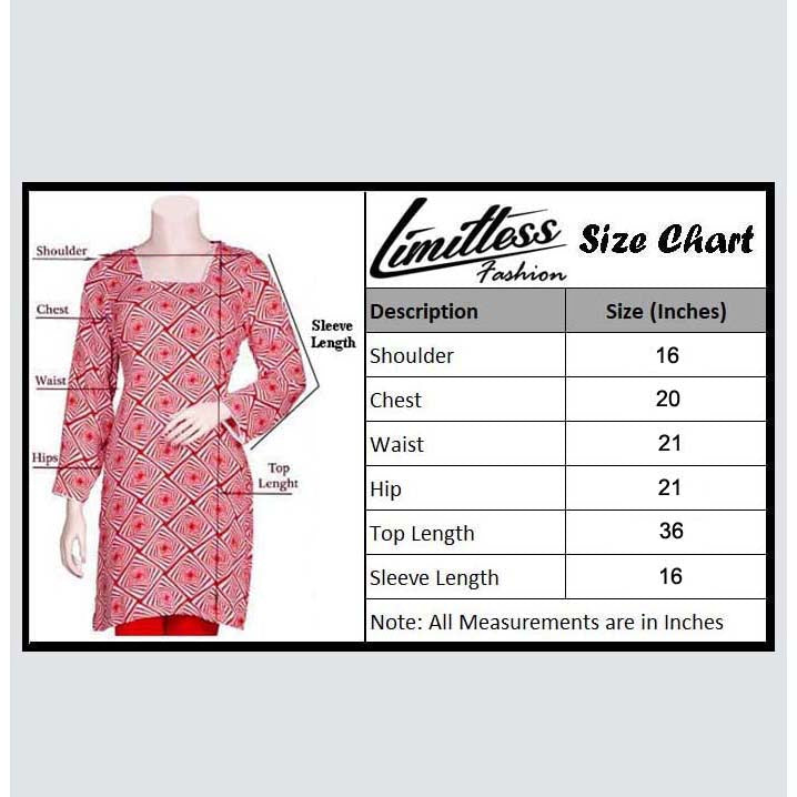 New & Latest Printed Cotton Lawn Stitched Kurti for Women in Medium - LNC-04