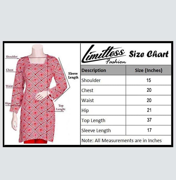 New & Latest Printed Khaddar Stitched Kurti for Women in Medium - LLK-27