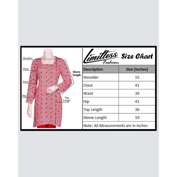 New & Latest Printed Khaddar Stitched Kurti for Women in Medium - LKH-41