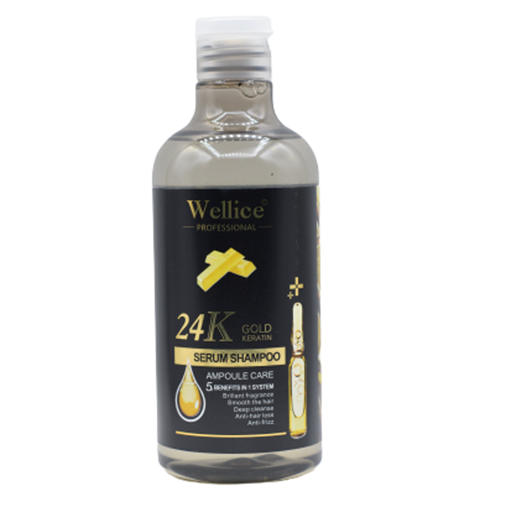Wellice Professional 24K Gold Keratin Serum Shampoo 5 Benefits In 1 System