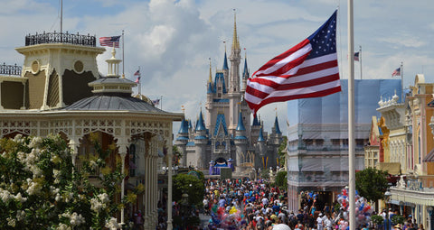 American Flags on Main Street USA at Disney World In Orlando Florida
