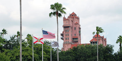 American Flags Flying at Tower of Terror