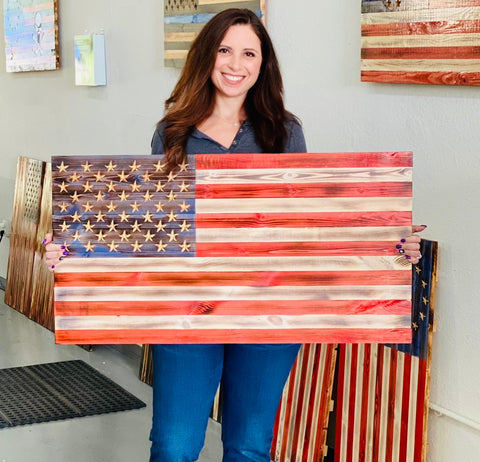 Wooden American Flag with carved 50 star union