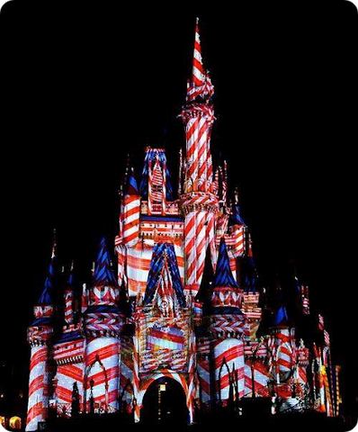 Cinderella's Castle as and American Flag  at Walt Disney World Orlando Florida