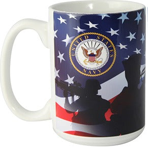 United States Navy Crest with Sailor and Ship Silhouette 16oz White Ceramic Mug