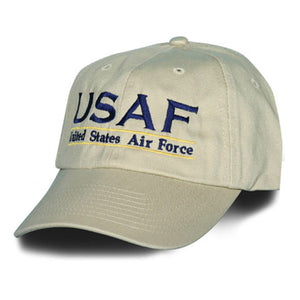 USAF Officially Licensed Cream with Blue Cotton Embroidered Ball Cap