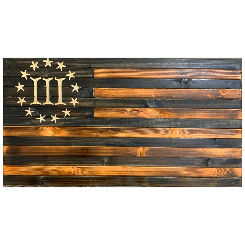 Handcrafted Rustic Wooden 3 Percent American Flag Pecan and Charcoal Indoor Outdoor Wall Art