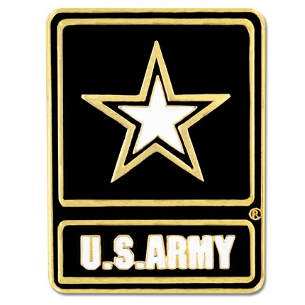 "U.S. Army 3/4"" black and Gold With White Star Lapel Pin - Flags Forever"