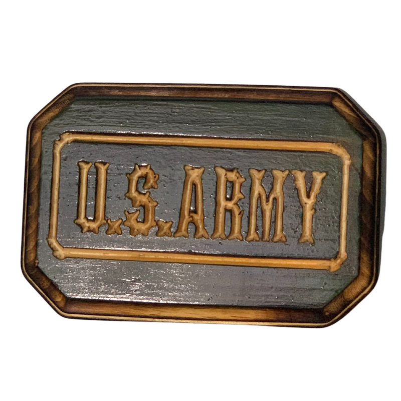 U.S. Army Handmade Wood Sign, Army Green Stain and Carved Letters on a hand torched pinewood plaque