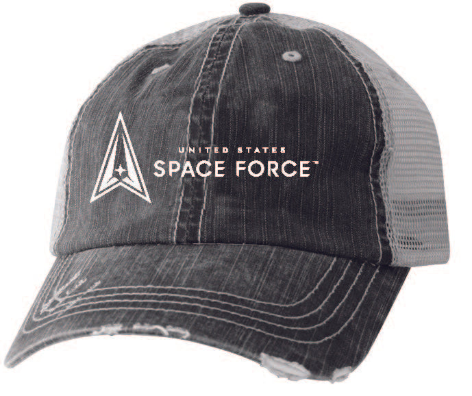 U.S. Space Force Embroidered Grey Twill and Mesh Officially Licensed Ball Cap