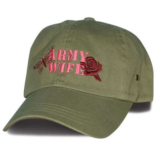 Army Wife Embroidered Rose & Butterfly Cap - Flags Forever