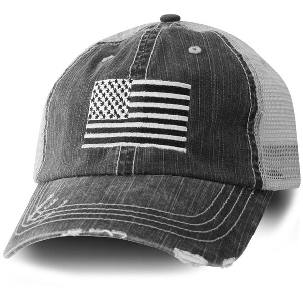 Grey Mesh Distressed Embroidered Subdued American Flag Ball Cap