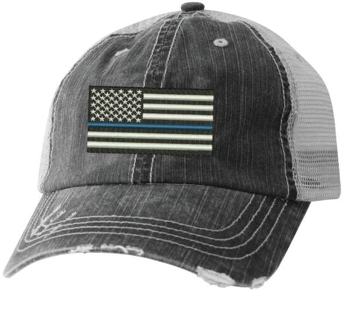 American Flag Thin Blue Line on Black Mesh Ball Cap - Flags Forever