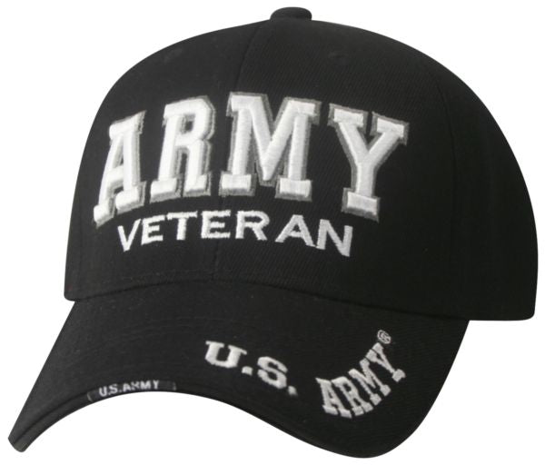U.S. Army Veteran Deluxe Embroidered Black and White Ball Cap