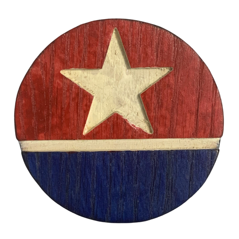 Patriotic Red White and Blue Handmade Wood Coaster Set of 5