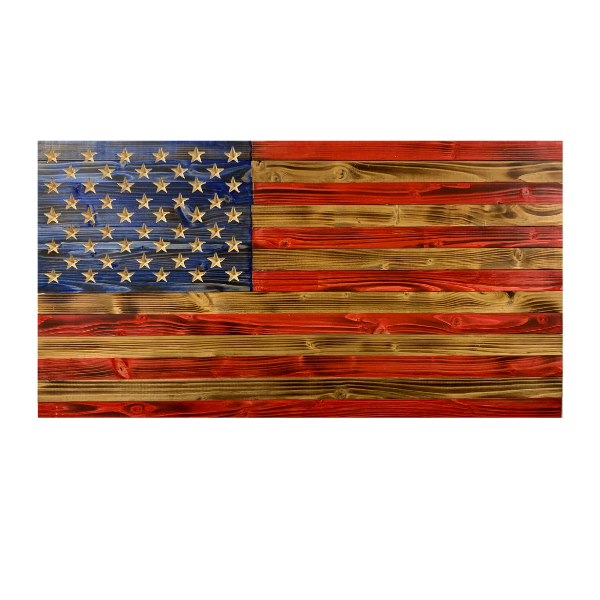 Handmade Large Rustic Wooden American Flag with 50 Star Carved Union Indoor/Outdoor Americana Wall Art