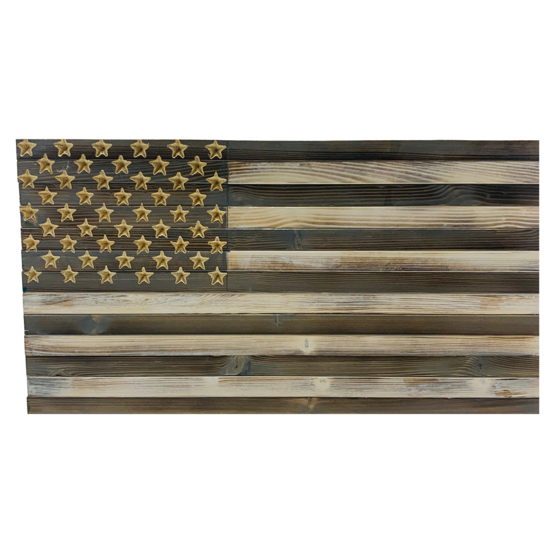 Greyscale Handmade Small Wooden American Flag, Rustic Grey and White Indoor/Outdoor Wall Art