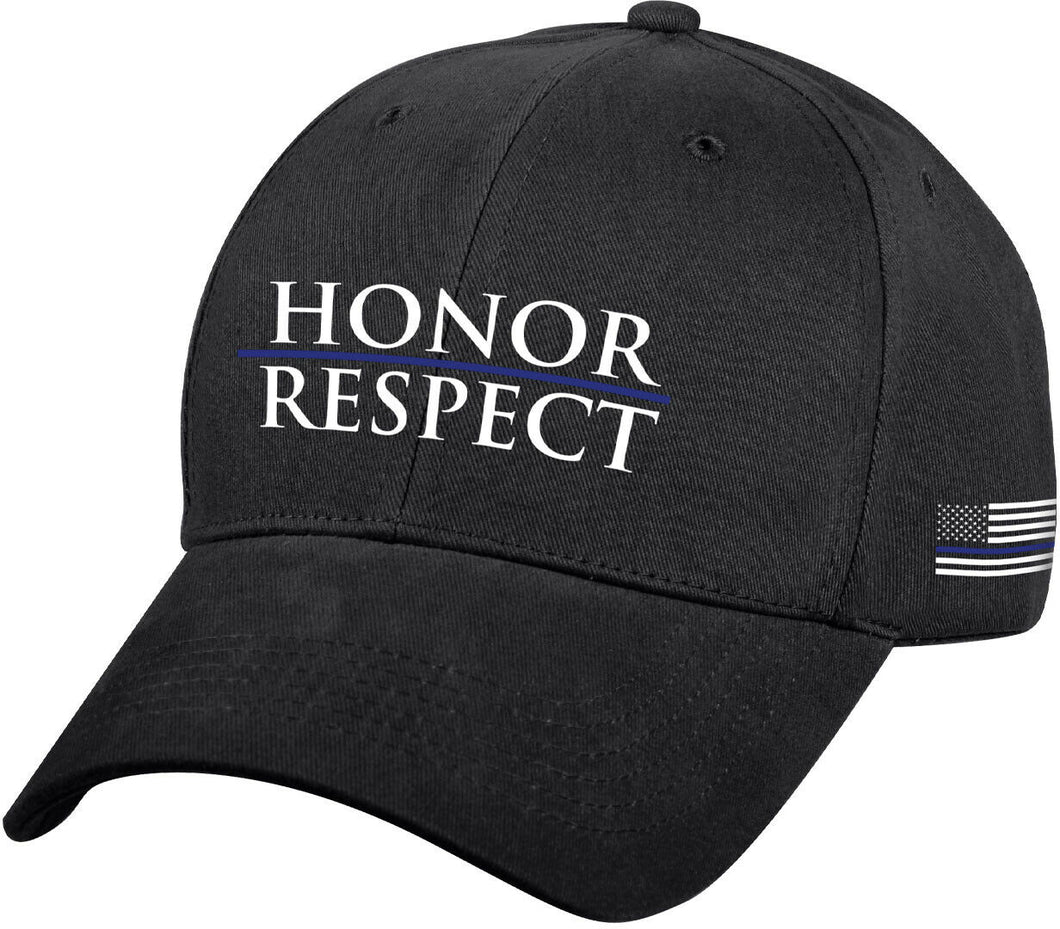 Thin Blue Line Honor Respect  Black Embroidered Support Police Baseball Cap