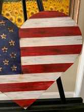 Load image into Gallery viewer, Wooden Heart American Flag, Torched with carved union, Hanging Heart Wall Art, Rustic Flag - Flags Forever