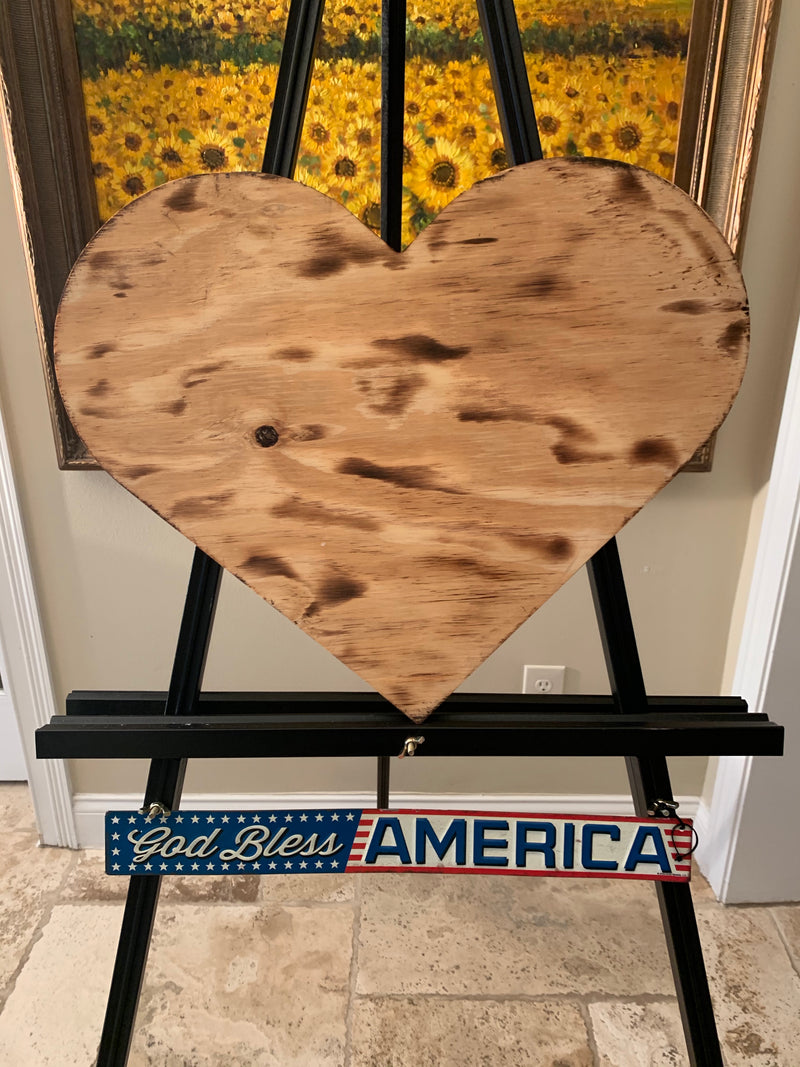 Wooden Heart American Flag, Torched with carved union, Hanging Heart Wall Art, Rustic Flag - Flags Forever