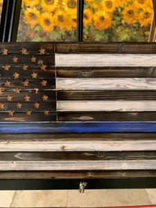 Thin Blue Line Rustic Wooden Flag, Hand Torched, American Flag Indoor, Outdoor, Wall Art - Flags Forever