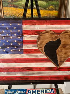 I Love My Golden Retriever Wooden Flag - Flags Forever