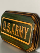 Load image into Gallery viewer, U.S. Army Handmade Wood Sign, Army Green Stain and Carved Letters on a hand torched pinewood plaque - Flags Forever
