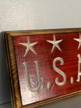 Load image into Gallery viewer, USA Carved Wood Sign - Flags Forever